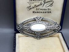 Vintage Faux Marcasite & Mother of Pearl Brooch