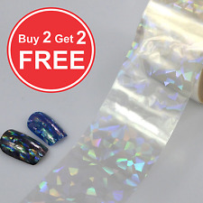 20x4cm Transfer Foil Holographic Clear Nail Art Glitter Stickers 3D Nails