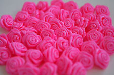 100! Lovely Satin Ribbon Roses - 15mm - Hot Pink Rose Embellishments!