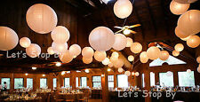 "15x 10"" Paper Chinese Lantern + 15 white LED Light Wedding Party Decor Supplies"