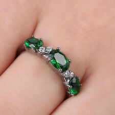 Size 8.5 Princess Cut 14k Black gold filled Emerald Topaz Gemstones Wedding Ring