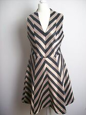 Oasis Occasion Dress Gold And Black Size  10  Stripe Prom Fit And Flare