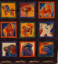 Laurel Burch Embracing Horses 9 SQUARES MULTI COLOR Purple Metallic Panel Fabric