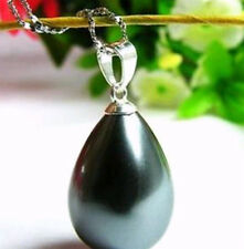 South 12x16mm Black Sea Shell Pearl Pendant Necklace  HK-663