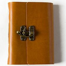 Personalized Leather Journal with Lock Blank Notebook Diary Handmade A6 Gift