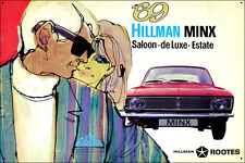 Hillman Minx 69 Steel Enamel Painted Metal Pop Art  Collectible Sign