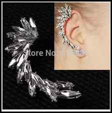 Rock Girls PUNK EARRING CRYSTAL LEAF Full EAR CUFF WARP CLIP STUD Party Earrings