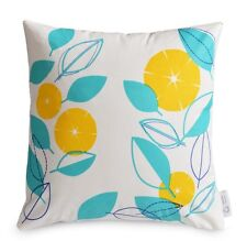 WATERPROOF OUTDOOR Cushion Cover Modern Floral Yellow Aqua / Blue Patio Pillow
