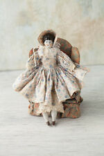 Antique1890's German Low Brow China Head,Bust & Arms/Cloth Body Doll Hand Sewn!