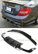 FOR 12-14 MERCEDES-BENZ C63 BIG FIN CARBON FIBER BUMPER DIFFUSER+ TRUNK SPOILER