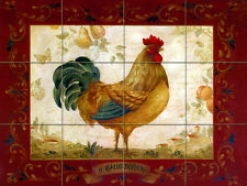 Travertine Vivid Art Rooster Kitchen Mural Backsplash Bath Tile #322