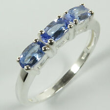 Engagement Ring Size US 7 Genuine TANZANITE Gemstones 925 Solid Sterling Silver
