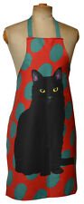 Leslie Gerry Black Cat Design Full Bib Apron