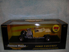 1/18 1923 FORD T-BUCKET IN YELLOWIVORY BY ERTL AMERICAN MUSCLE.