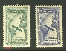France: Airmail Propaganda - Aeropostale - CGA vignettes,  both colors!