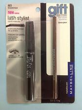 Maybelline Lash Stylist Mascara BROWNISH BLACK # 603 WITH BONUS EYELINER NEW.