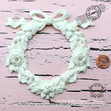 """Shabby Chic Furniture Appliques """"Roses with Vintage Bow Wreath (Large)"""""""