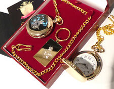 GENUINE 24k Carat GOLD clad RAF Keyring PLUS Royal Air Force Pocket Watch Crest