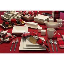 White Simply Square 40-Piece Dinnerware Set
