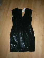 XMAS PARTY-STUNNING FRENCH CONNECTION BLACK SEQUIN LADIES DRESS-SIZE 12
