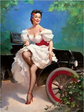 1940s Pin-Up Girl Sunday Drive Picture Poster Print Art