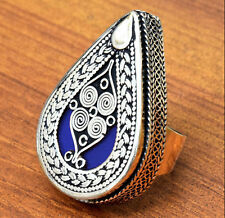 Blue Tribal Carved Bohemian Ring Turkmen Jewelry Afghan Kuchi Ethnic Silver Boho
