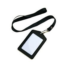 LEMO Genuine leather ID Card Holder Vertical Strap Lanyard for Retractable Badge