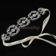 New Crystal Bridal Headbands Wedding Hair Band Ribbon Sash Accessory Headpieces