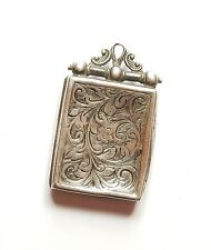 Antique Edwardian 925 Silver AEJ FLOWER PATTERNED PHOTO LOCKET PENDANT 6.5g