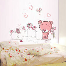 Removable Pink bear Wall Sticker home docor girl nursery room baby wallpaper