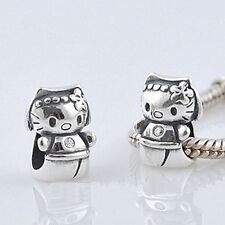 HELLO kitty-princess - GATTINO-CAT-solido 925 argento Sterling Charm europeo Perline