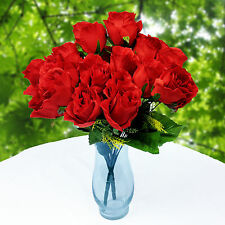 24 Artificial Assorted Red Roses 2 Bouquet Wedding Party Flower Home Decoration
