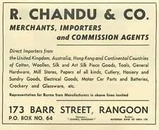 1953 R Chandu And Co-merchants Importers Barr Street Rangoon Ad