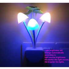 Automatic LED Mushroom Wall Sensor Night Light Lamp US Plug Home Decor