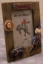 "Picture Frame Western Cowboy Steer Roping 5"" x 6 7/8"" for 3 ½"" x 5"" picture NEW"