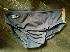 "MENS SPEEDO ENDURANCE 'PULSE' GREY AND ORANGE BRIEF TRUNKS SIZE 30"" NEW!"