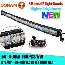 "OSRAM 800W 50"" CURVED FLOOD SPOT LED Work Light Bar Offroad Drivin Lamp 4WD JEEP"