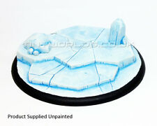 120mm Round Lipped Frozen Ice World Scenic Resin Base - Warmachine Malifaux Snow
