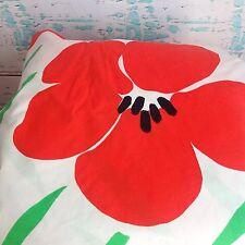 Vintage Burlington Red Poppy Floral Flower Queen Fitted Bed Sheet Vtg 80s 90s