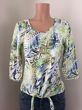 CHICO'S Tribal Fun Aztec Print Top 3/4 Sleeves SIZE 0 Small