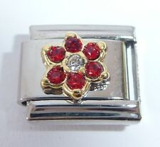 RED FLOWER Italian Charm - July Birthstone fits Classic Starter Bracelets 9mm