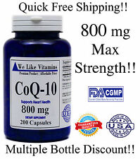 CoQ-10 800mg/Serving 400mg/Capsule  200Capsules Coq10 Co Q10 Coenzyme Made USA