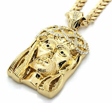 """Mens 14k Gold Plated 30"""" Cuban Chain Black Eyed Crowned Jesus Large Necklace"""