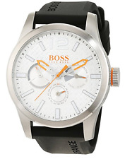 Hugo Boss Men's Paris Black Silicone Strap Watch 1513453 NEW IN BOX!!