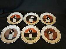 Guy Buffet - Sommelier - Set of 6 Salad Plates w/French Waiter Designs
