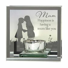 "Reflections of the heart Mirror Tea light candle holder  ""Mum"""