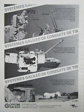 9/1985 PUB OFFICINE GALILEO CONDUITE DE TIR LEOPARD OF 40 ARTILLERY ORIGINAL AD