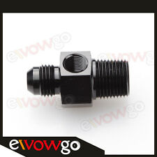 "-6AN AN6 Male To 3/8"" NPT With 1/8"" NPT Fuel Gauge Port Adapter Fitting Black"