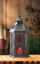 """LARGE red black Moroccan 16"""" tall Lantern Candle holder light outdoor terrace"""