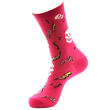 BETSEY JOHNSON Casual Socks Ladies 9-11 Skull & Lightning Rockabilly Sock Pink